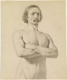 1906P708 Male Nude - Academic nude Study, half-length with Moustache and Arms folded