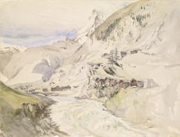 1916P12 An Alpine Valley, the Matterhorn in the Distance