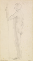 1906P672 Male - Academic Study of a Nude holding a Staff