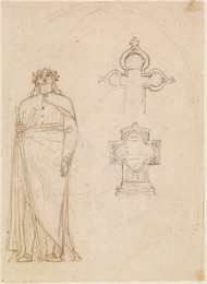 1906P680 Early compositional Study_Study for the Figure of Milton_Two Designs for Tombstones