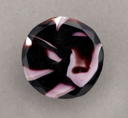1953F503 Marbled purple & white glass button
