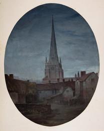1920P448 St Martin's Church Birmingham, By Night