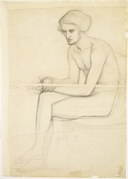 1904P375 Seated Male nude - Study